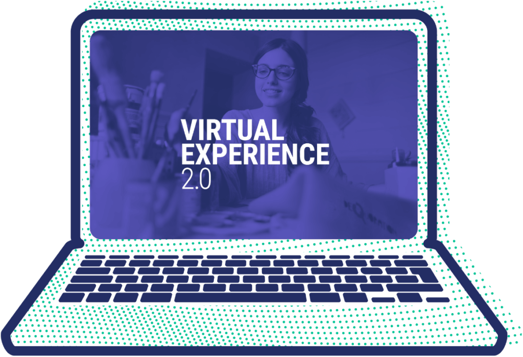 laptop screen showing virtual experience 2.0